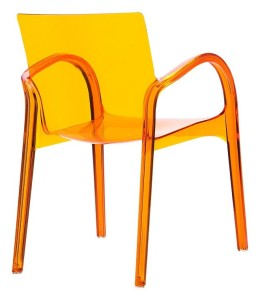 Nowoczesny fotel kuchenny Deya pomarańcz trans
