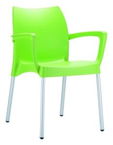 Sztaplowany fotel plastikowy Dulce zielony