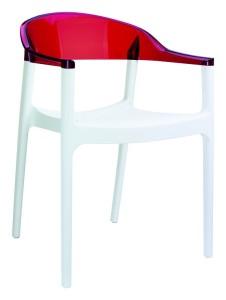 Fotel kuchenny plastikowe Kamen biały czerwony