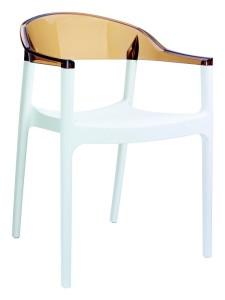 Fotel kuchenny plastikowe Karmen biały bursztyn
