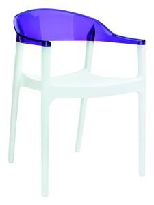 Fotel kuchenny plastikowe Karmen biały fiolet