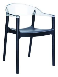 Fotel kuchenny plastikowe Karmen czarny clear