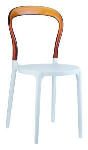 Kuchenne krzesło plastikowe Krzesło Mister białe bursztyn