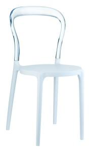 Kuchenne krzesło plastikowe Krzesło Mister białe clear
