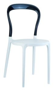 Kuchenne krzesło plastikowe Krzesło Mister białe czarne