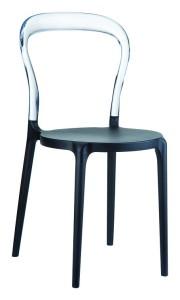 Kuchenne krzesło plastikowe Krzesło Mister czarne clear