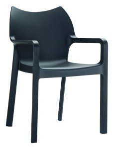 Sztaplowane Krzesło plastikowe nowoczesne Deve czarne