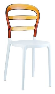 Kuchenne krzesło plastikowe Miss białe bursztyn