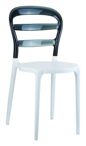 Kuchenne krzesła plastikowe Miss białe czarne