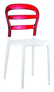 Plastikowe krzesło do kuchni Miss białe czerwone