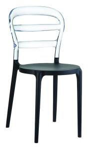 Poliwęglanowe krzesło kuchenne Miss czarny clear