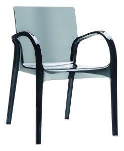 Nowoczesne krzesło kuchenne plastikowe Deya czarny trans