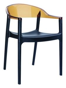 Fotel kuchenny plastikowe Karmen czarny bursztyn