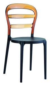 Polipropylenowe krzesło do kuchni Miss czarny bursztyn