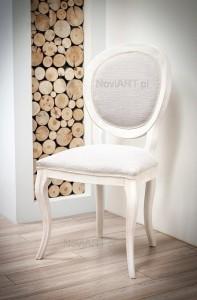 Stylizowane krzesło włoskie typu A-1013-V kolor biały stażony