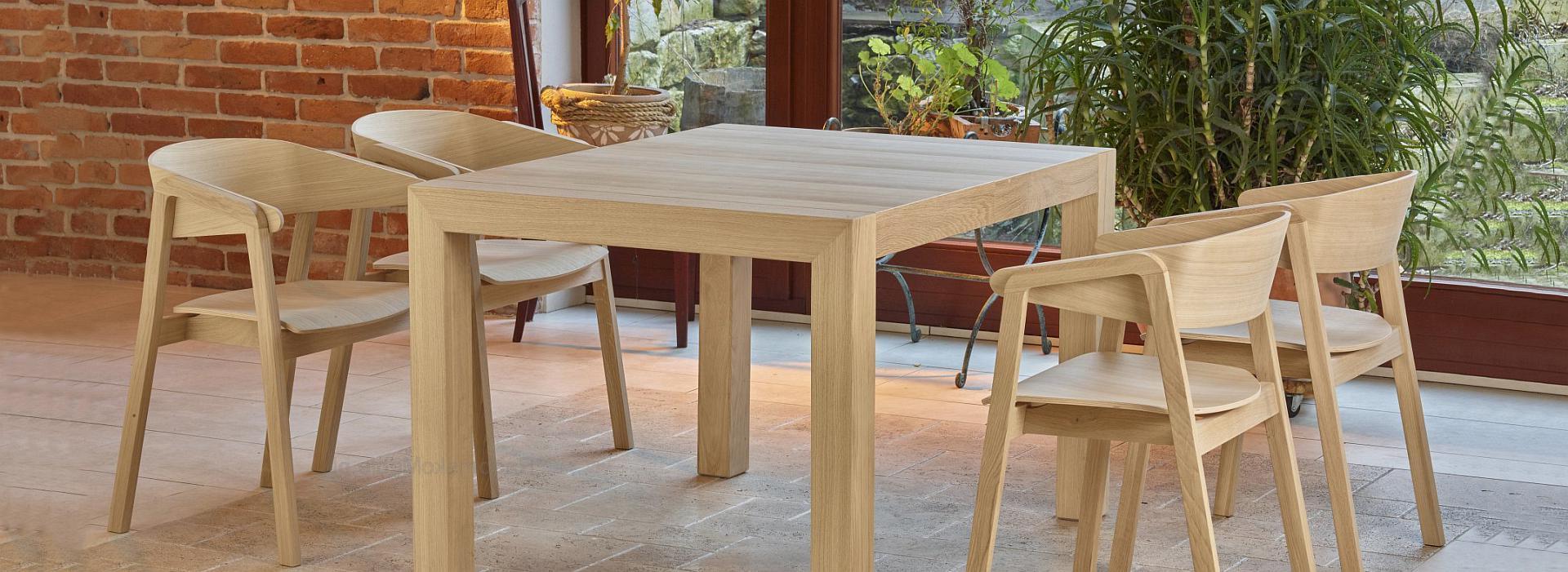 Stół ST-SINPLE + Fotel CAVA BS DĄB