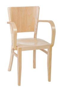 Nowoczesne krzesło z podłokietnikami drewniane BR-0031-1 do restauracji typu Tulip fameg