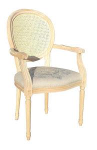 Fotel stylizowany B-1001- V z wyplatanym oparciem trzciną
