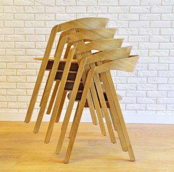 Fotel nowoczesny dębowy LOX-BS sztaplowany do restauracji