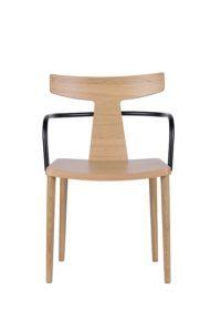 Designerski nowoczesny fotel drewniany z metalowym podłokietnikiem TIRO BS projekt Yago Sarri