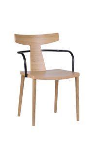 Designerski nowoczesny fotel drewniany z metalowym podłokietnikiem TIRO BS