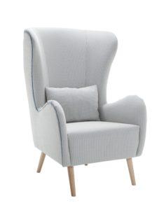 Wysoki fotel tapicerowany WING-B typu uszak