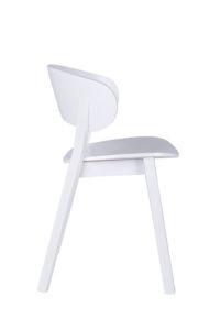 Designerskie białe krzesło drewniane DOMA-AS twarde widok z boku