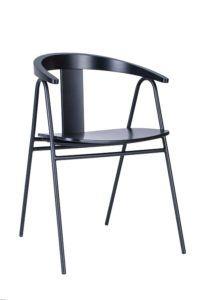 Krzesło drewniane z nogą metalową BS-UVE czarne nowość od Meble Radomsko
