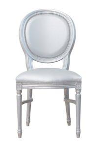 Krzesło stylizowane srebrne A-1001-VST sztaplowane typu Ludwik XVI Luigi