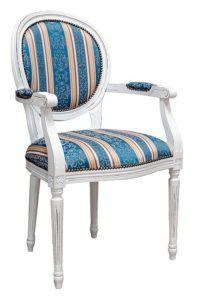 Fotel stylizowany B-1001-VP typu Ludwik XVI kolor biały postarzany Luigi