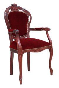 Fotel włoski B-1006-VP z tapicerką welurową czerwoną