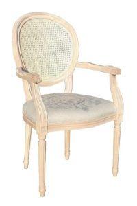Fotel stylizowany B-1001-V WYPL typu Ludwik XVI z oparciem wyplatanym