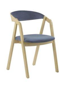 Fotel nowoczesny drewniany LOX 2 BS dębowy z tapicerowanym siedziskiem i oparciem nowość