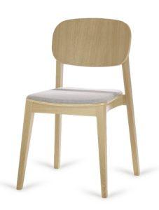 Dębowe sztaplowane krzesło nowoczesne ALLEGRI-AS tapicerowane projektant Yago Sarri