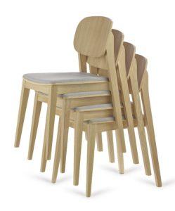 Krzesło nowoczesne ALLEGRI-AS sztaplowane do restauracji dębowe lub bukowe