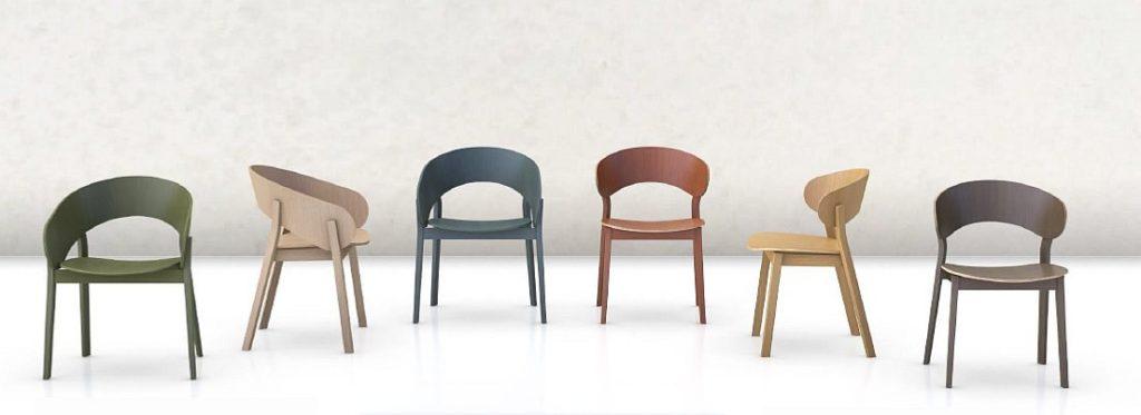 Kolekcja nowoczesnych krzeseł drewnianych wg projektu Y.Sarri DOMA